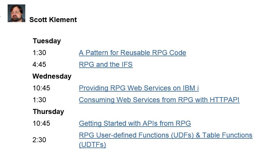 Scott Klement RPG&DB2 Summit Session Speaking Schedule