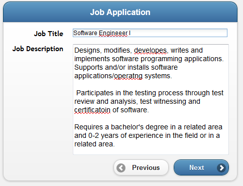 Job application example