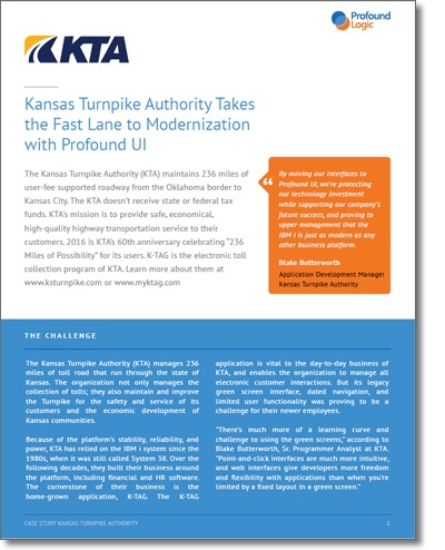 Kansas Turnpike Transform IBM i (iSeries, AS/400) Applications with Profound UI